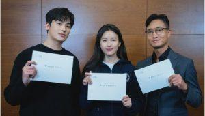 Pembacaan naskah untuk thriller tvN Happiness with Park Hyung-sik, Han Hyo-joo, Jo Woo-jin